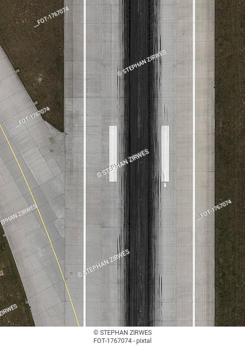 Aerial view runway at Stuttgart Airport, Baden-Wuerttemberg, Germany
