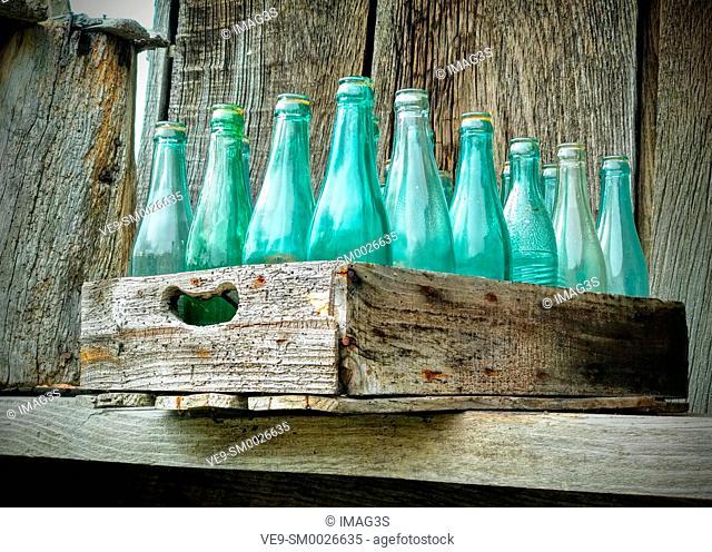 Old woden box of beer bottles, El Tozu village, Asturias, Spain
