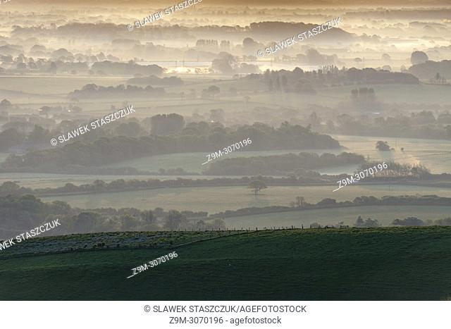 Spring sunrise in South Downs National Park, East Sussex, England