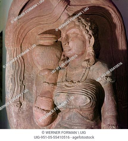 A stele depicting a river goddess who holds a jug of water on her shoulder