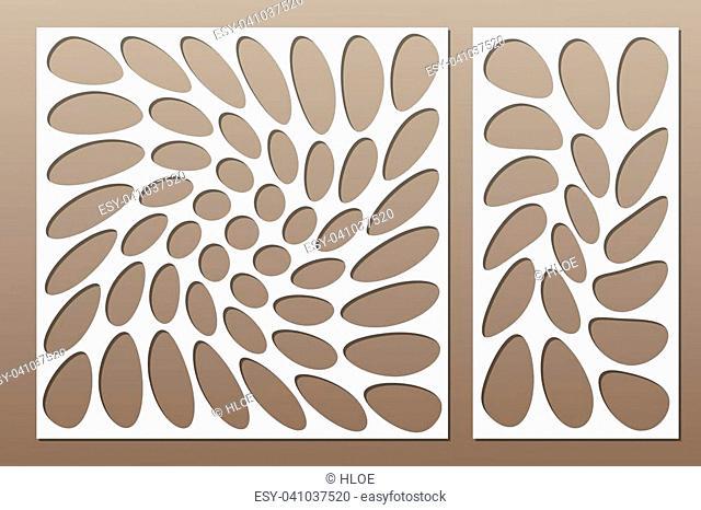 Set decorative card for cutting. Circle spiral pattern. Laser cut. Ratio 1:1, 1:2. Vector illustration