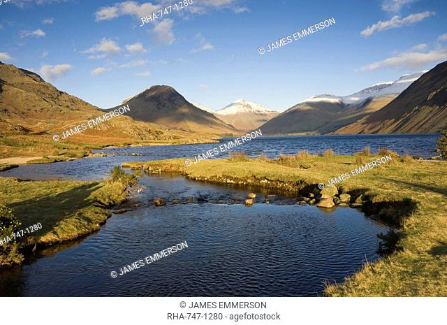 Wastwater, Yewbarrow, Great Gable and Scafell Pike in the distance, Wasdale, Lake District National Park, Cumbria, England, United Kingdom, Europe