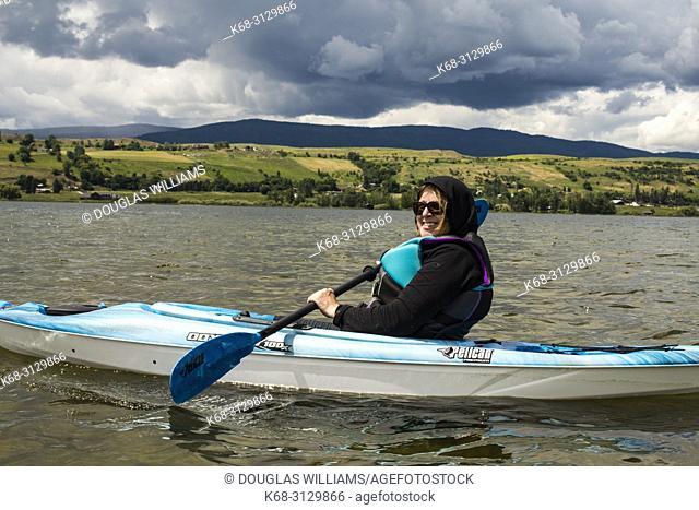kayaking on Swan Lake, near Vernon, BC, Canada