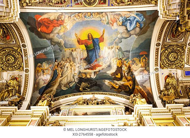 Painting of Jesus Christ on ceiling, St Isaacâ. . s Cathedral, St Petersburg, Russia