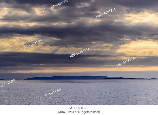 Croatia, Kvarner Gulf, Rab Island, Rab, view westwards toward the island Losinj