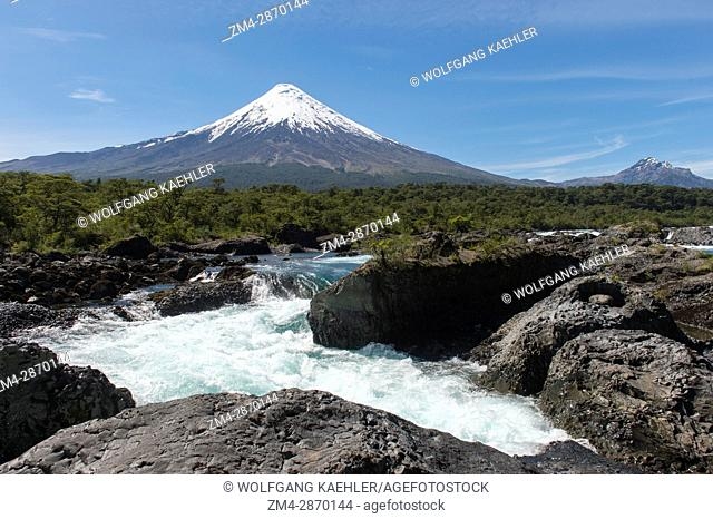 The Petrohue Rapids and Osorno Volcano in Vicente Perez Rosales National Park near Puerto Varas and Puerto Montt in the Lake District in southern Chile