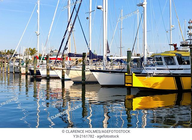 Sailboats and other pleasure craft sit at anchor at the Annapolis Yacht Club on Spa Creek in Annapolis, Maryland, USA