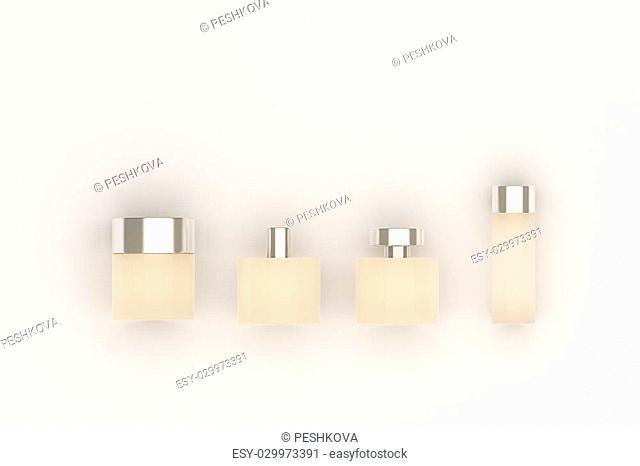 Beige perfume bottles isolated on light background. Mock up, 3D Rendering