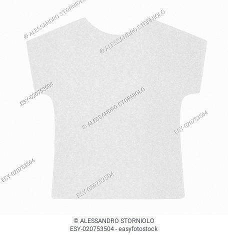 Flat gray T-shirt sticky note, isolated on white background