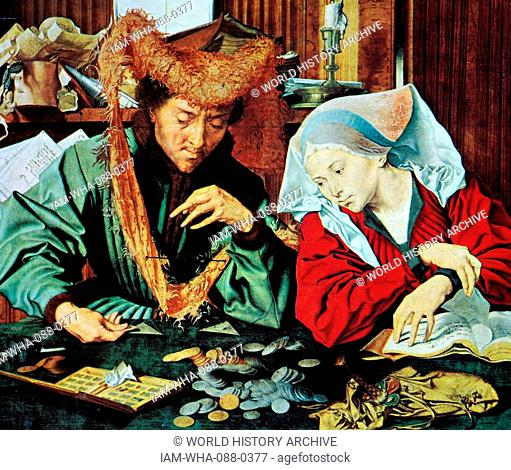 Painting titled 'The Money Changer and his Wife' by Marinus van Reymerswaele (1490-1546) a Dutch painter. Dated 16th Century