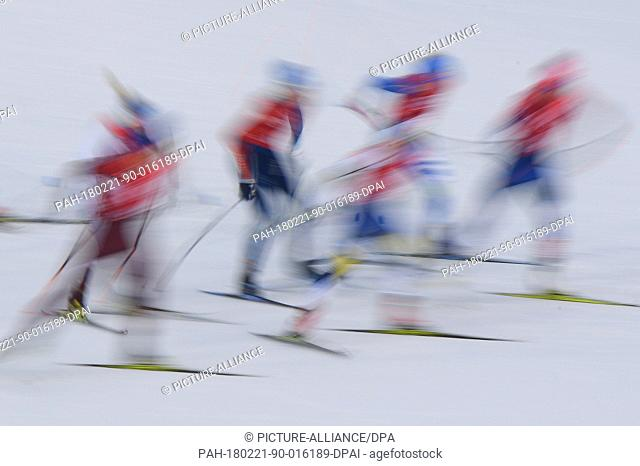 Athletes starting during the women's free team spring nordic skiing event of the 2018 Winter Olympics in the Alpensia Cross-country Ski Centre in Pyeongchang