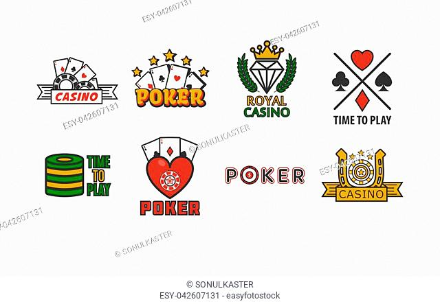 Poker game logotypes colorful collection isolated on white. Vector poster of gambling establishment badges with playing cards and other round equipments
