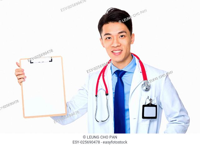 Doctor show with clipboard