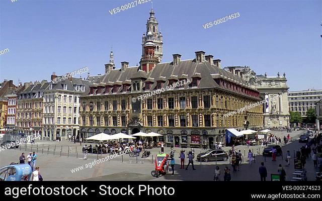 Old Stock Exchange, Vieille Bourse de Lille, and Chamber of Commerce Belfry at Grand Place, Place Charles de Gaulle in Old Town Lille, France