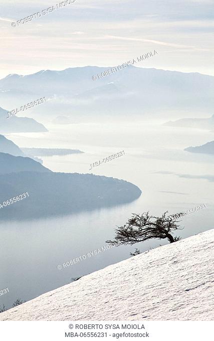 Winter view of Lake Como Vercana mountains High Lario Lombardy Italy Europe