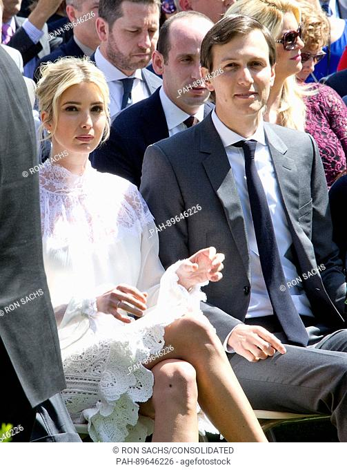 Ivanka Trump and Jared Kushner await the arrival of United States President Donald J. Trump and King Abdullah II of Jordan ahead of a joint press conference in...