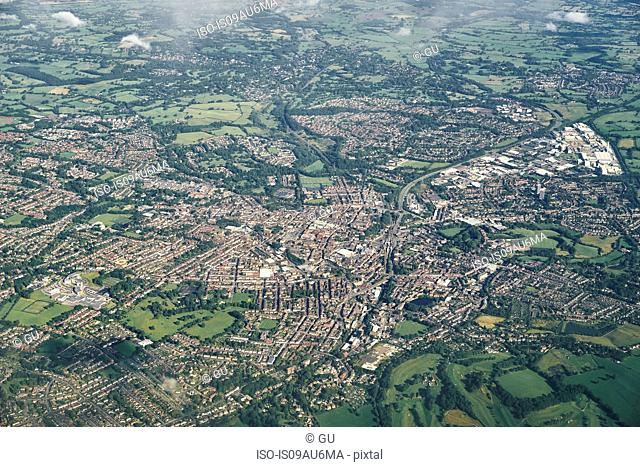 Approaching Manchester by air, Yorkshire, UK