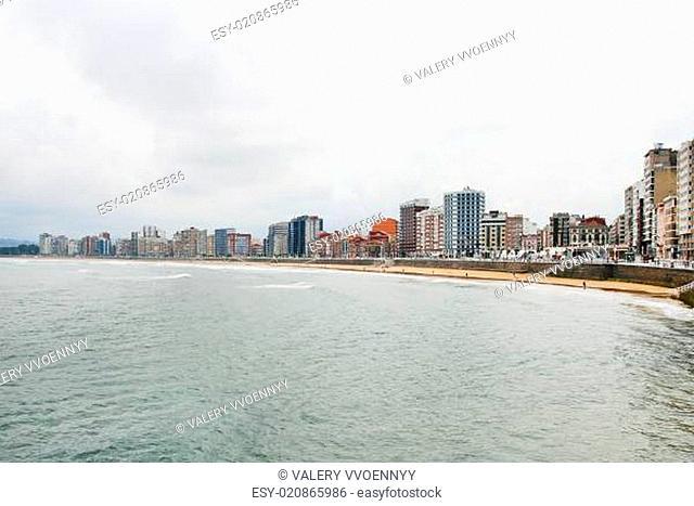 view of Gijon city in Asturias, Spain