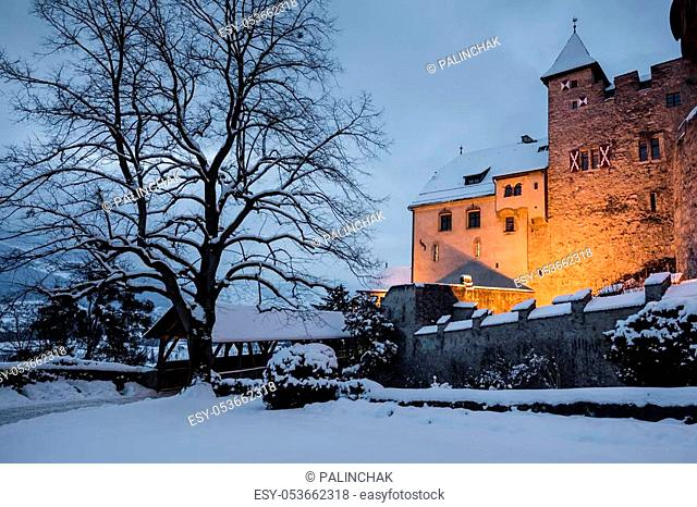 Old medieval castle in Vaduz, Liechtenstein. Vintage landmark. Vaduz Castle is the palace and official residence of the Prince of Liechtenstein