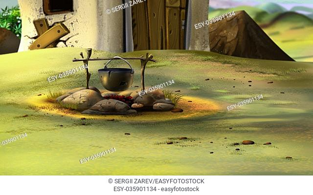 Digital painting of Cauldron on fire. Cooking on a fire