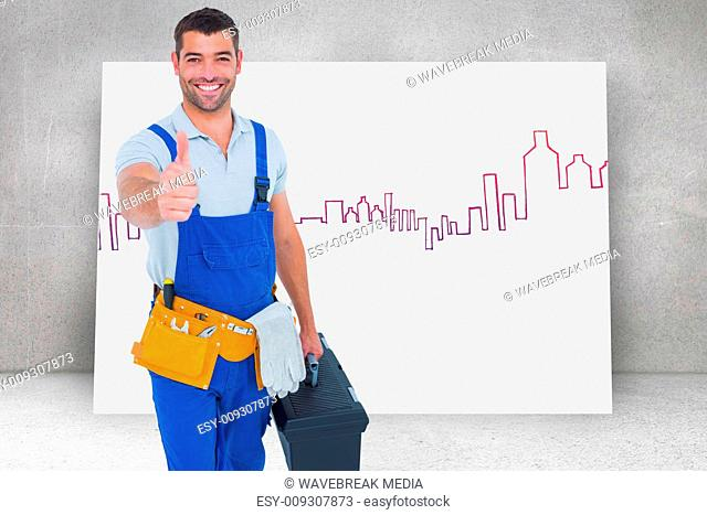 Composite image of happy repairman with toolbox gesturing thumbs up