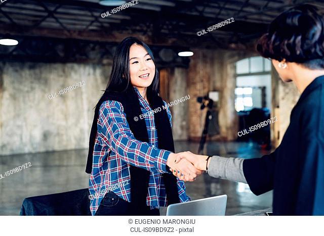 Business people shaking hands in studio