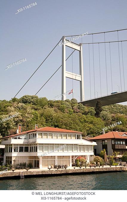 Fatih Sultan Mehmet Bridge, and waterside homes, beside the Bosphorus, Istanbul, Turkey