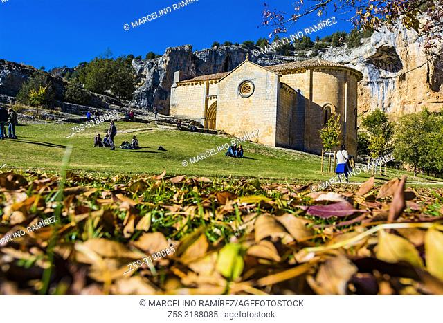 Early autumn. Hermitage of San Bartolome. Lobos river canyon, Nature Park. Ucero, Soria, Castilla y Leon. Spain, Europe