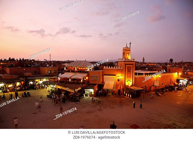 Djemaa El Fna square by night in marrakech