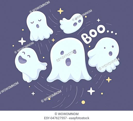 Vector halloween illustration of many white flying ghosts with eyes, mouths on dark blue background with stars. Flat style design for halloween greeting card