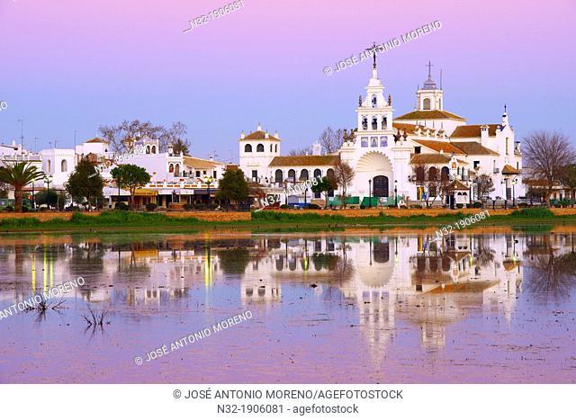El Rocio village and Hermitage at Sunset, Almonte  El Rocio, El Rocío  Marismas de Doñana, Doñana National Park, Huelva province, Andalusia  Spain