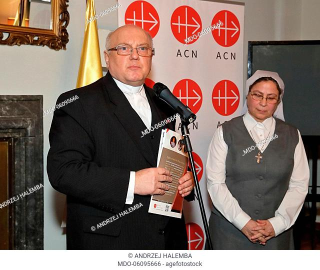 Father Andrzej Halemba, ACN International and Sister Annie Demerjian at the event Candles for Peace in Syria, organized by the Embassy of Poland to the Holy See...