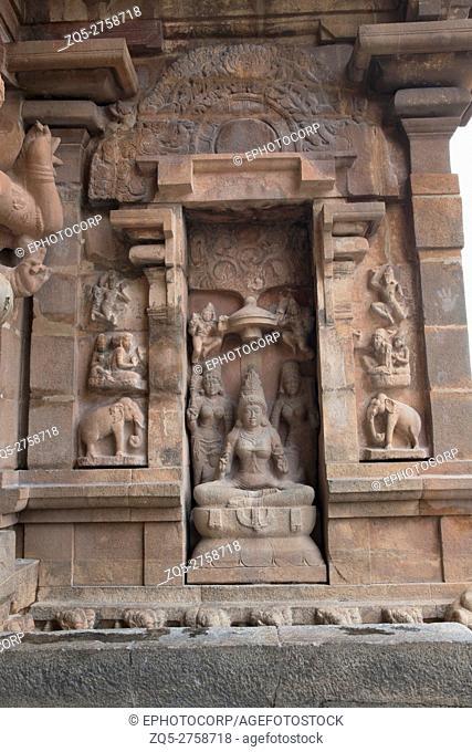 Goddess Lakshmi, southern niche of the central shrine, Brihadisvara Temple, Tanjore, Tamil Nadu, India