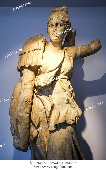 Nike carrying a trophy. Aphrodisias Museum. Ancient Classic Greece. Asia Minor. Turkey