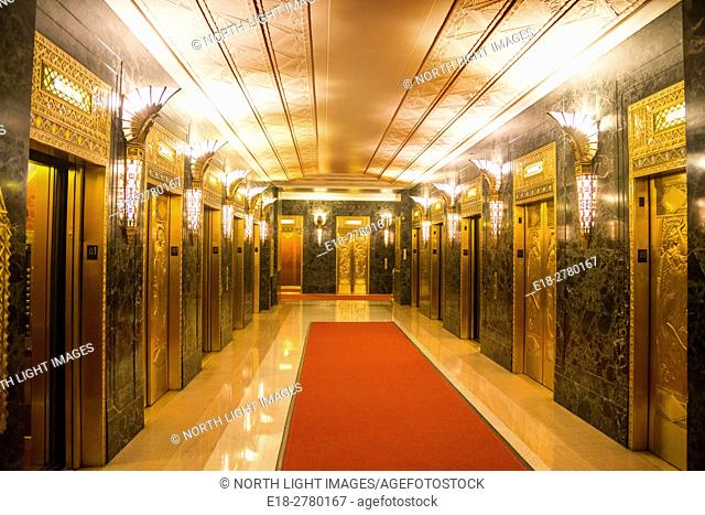 USA, IL, Chicago. Ornately decorated lobby of art deco office tower, One North LaSalle Building