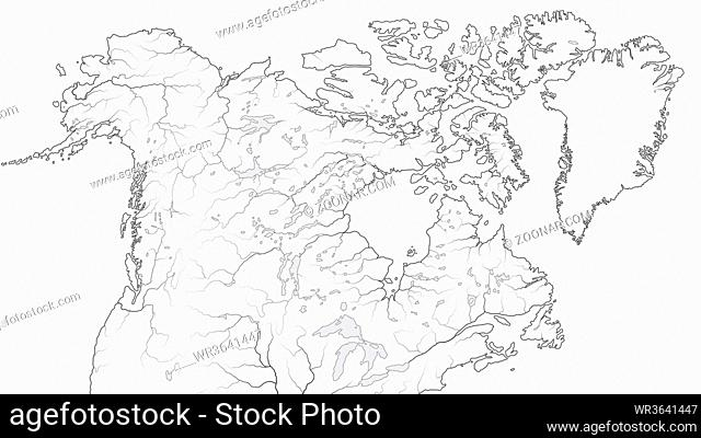 World Map of CANADA and NORTH AMERICA REGION: America, Alaska, Canada, Greenland, Labrador Peninsula, Arctic Archipelago, Great Lakes