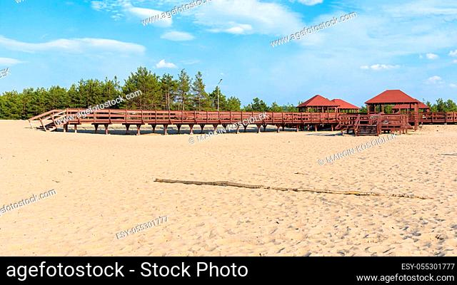 """Panoramic view of wooden structure called """"""""wind rose""""""""on the edge od Bledow Desert, Poland"""