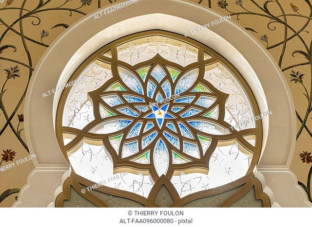 Ornate stained glass window, Sheikh Zayed Mosque, Abu Dhabi, United Arab Emirates