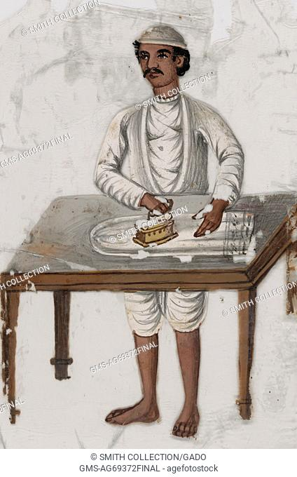 Man in white ironing behind table, India, 1819. From the New York Public Library