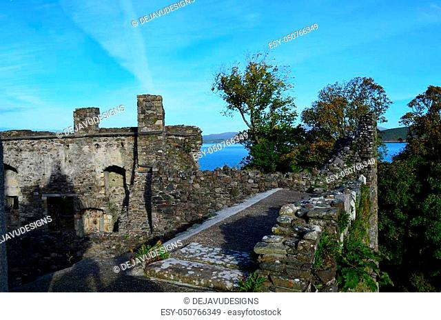 Dunstaffnage castle ruins in Argyll and Bute Scotland