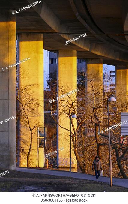 SOLNA, SWEDEN Ekelundsvägen in Solna, a suburb of Stockholm. Bike path between bridges