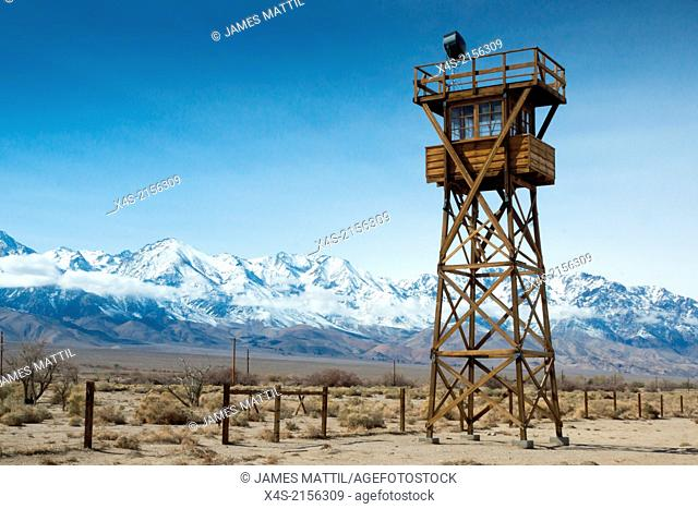 A watch tower at the Manzanar relocation camp in California where thousands of Japanese-Americans were held in detention during World War II