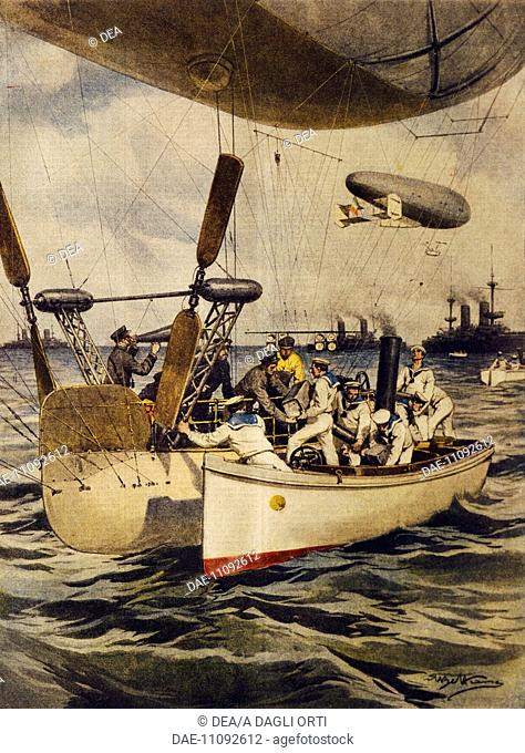 Airships resupplying battleships during their voyage. Illustrator Achille Beltrame (1871-1945), from La Domenica del Corriere, 5th May 1910