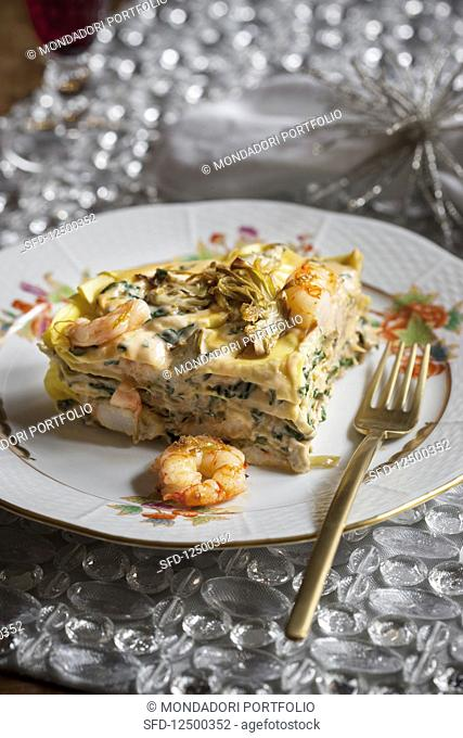 Lasagne with prawns and artichokes