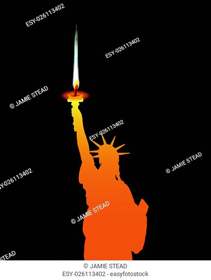 The Statue of Liberty with candle flame from torch