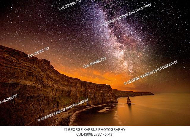 The Milky way visible over the Cliffs of Moher, Doolin, Clare, Ireland