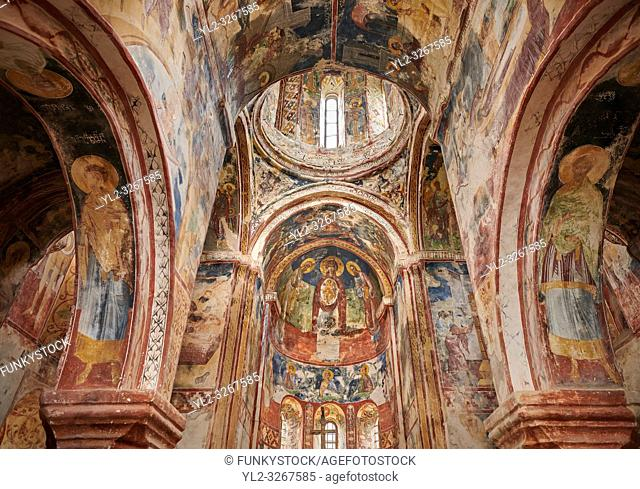 Pictures & images of the Byzantine interior fresco in the Gelati Georgian Orthodox Church St George, 13th century. The medieval Gelati monastic complex near...