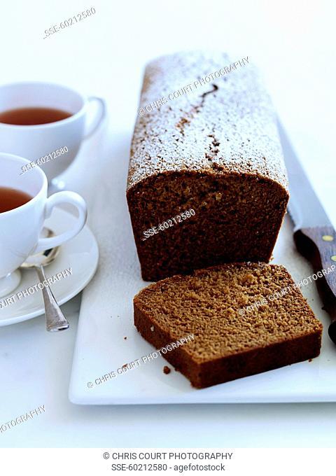 Walnut flour cake sprinkled with icing sugar