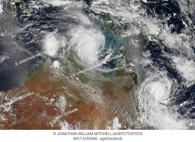 EARTH Australia -- 19 Feb 2015 --Double whammy. . . This satellite data from the Terra and Aqua NASA satellite shows Tropical Cyclone Marcia (right) - which is...