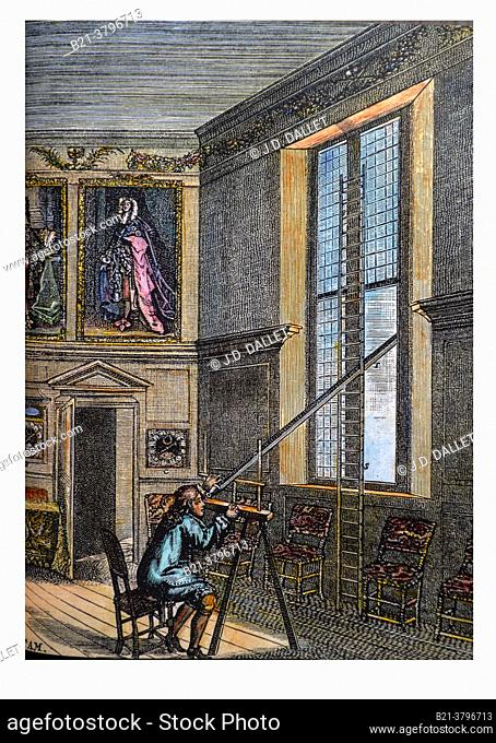 UK, Greenwich Observatory,  John Flamesteed observing the sky, Engrving 1700